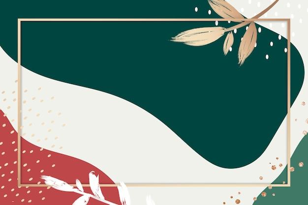 Colori memphis psd rettangolo cornice dorata con foglie