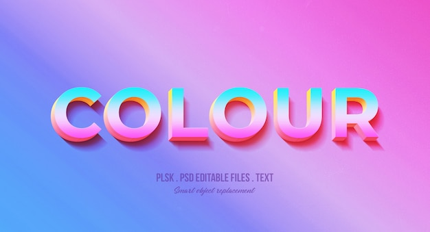Colour 3d text style effect mockup