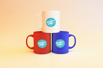 Colour Editable 3 Nice Coffee Mugs Mockup