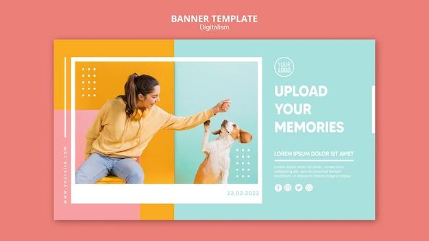 Banner orizzontale colorato digitalismo con foto di donna