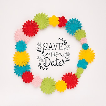 Colourful floral frame save the date mock-up