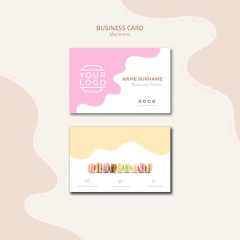 Colourful french macarons business card template