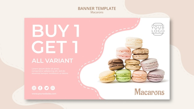 カラフルなフランスのマカロンは、1つのバナーを1つ購入します
