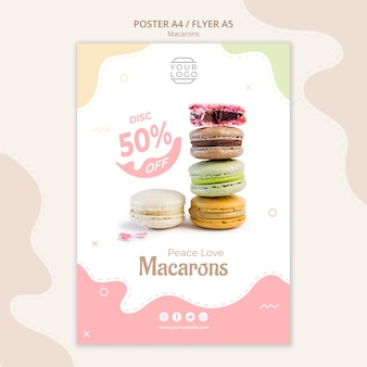 Colourful french macarons poster template