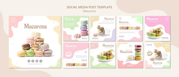 Colourful french macarons social media post