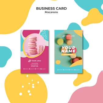 Colourful french macaroons business card