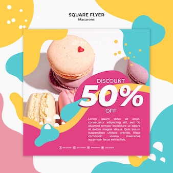 Colourful french macaroons square flyer Free Psd