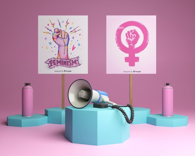 화려한 여자 힘 개념 배열