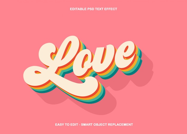 Colourful love text effect