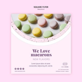 Colourful macarons square flyer template