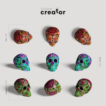 Colourful skull variety of angles halloween scene creator
