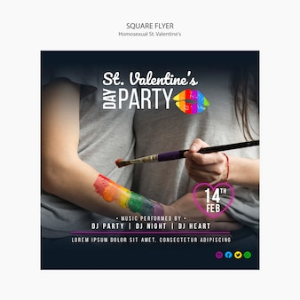 Colourful square flyer for st. valentine's lgbt party with photo