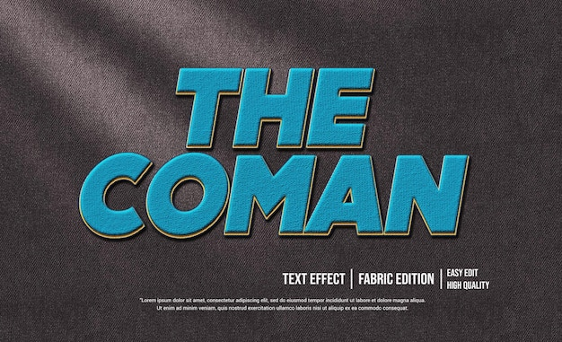 The coman 3d text style effect template