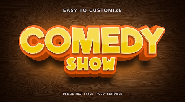 Comedy show 3d text style effect mockup