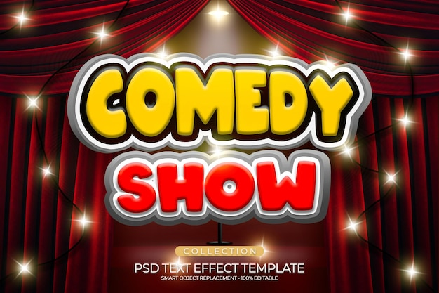Comedy show text effect custom with podium red color and shiny