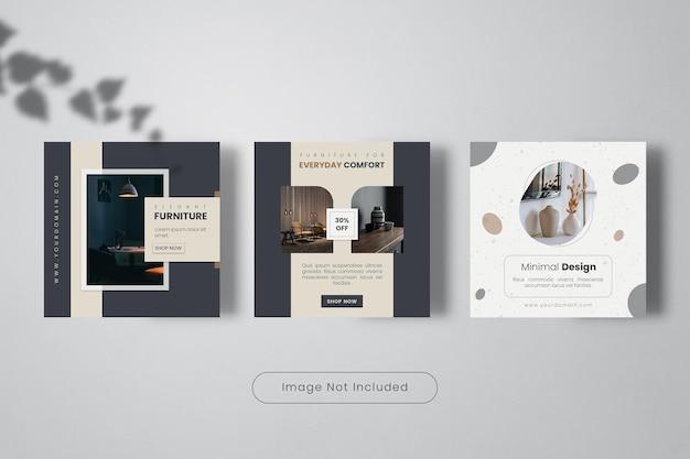 Comfort home interior design instagram post template banner collection