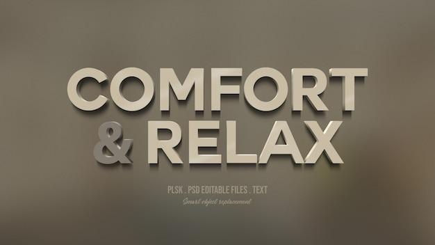 Comfort and relax 3d text style effect