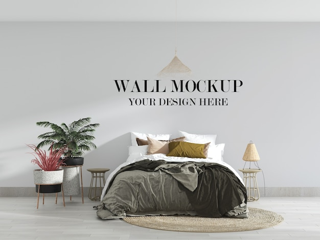 Comfortable bedroom wall mockup