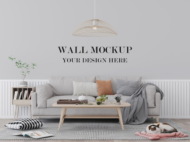 快適なリビングルームの壁のモックアップ