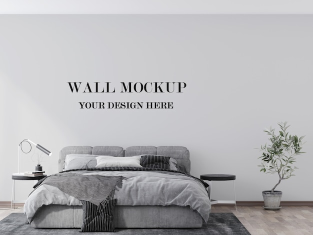 Comfortable modern bedroom empty wall 3d rendering mockup