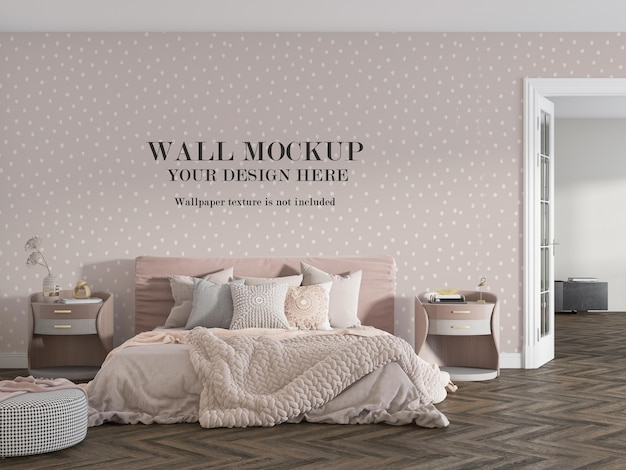 Comfortable pink bedroom with wall mockup design