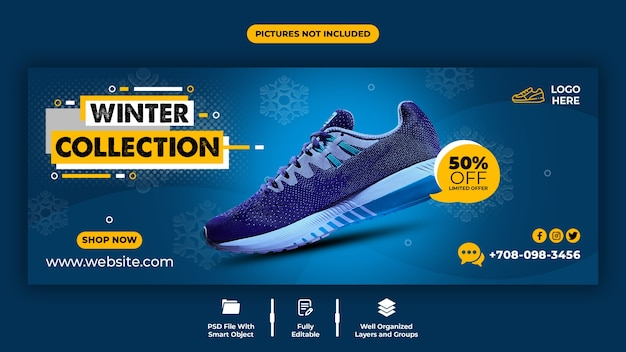 Comfortable shoes sale facebook cover template