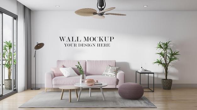 Comfy scandinavian living room wall background in 3d rendering