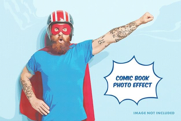 漫画本の写真彫刻効果テンプレート