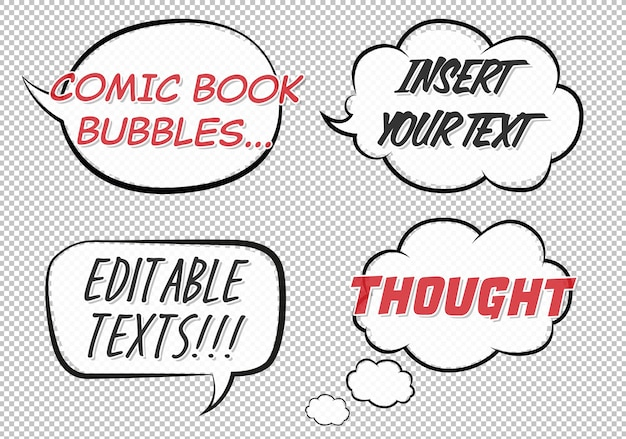 Comic book speech and thought bubbles mockup