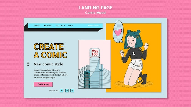 Comic design landing page template