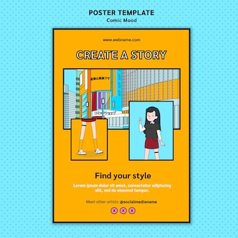 Comic design poster template
