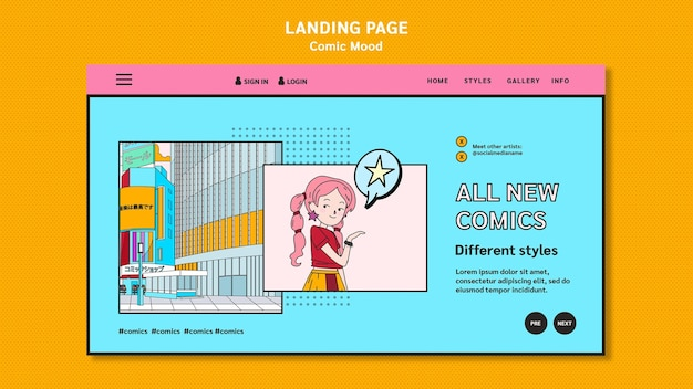 Comic design template landing page