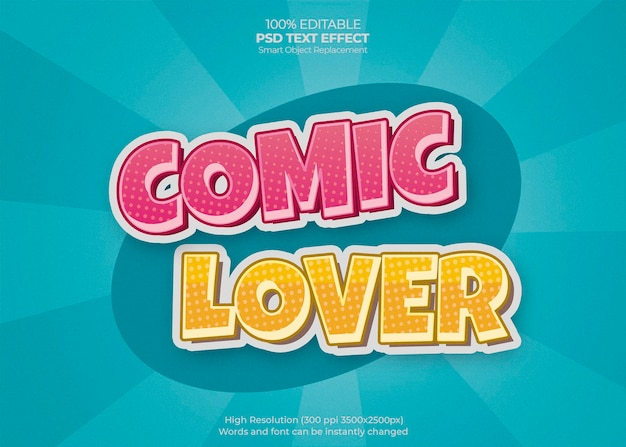 Comic lover text effect