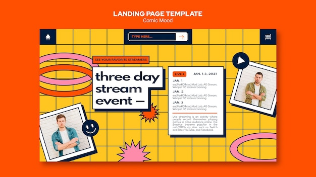 Comic mood landing page template