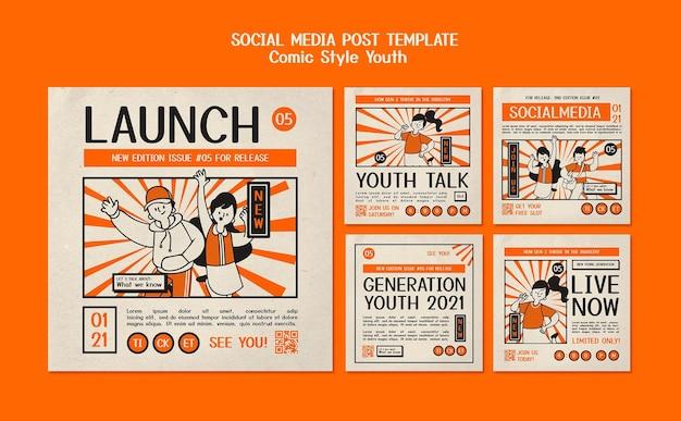 만화 스타일의 소셜 미디어 게시물