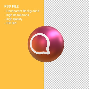 Comment icon for instagram 3d balloon symbol rendering isolated