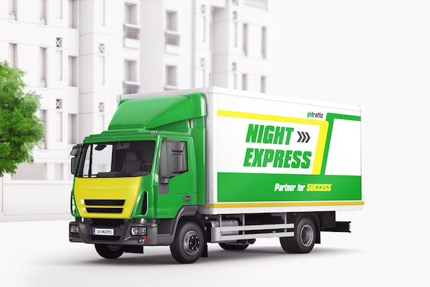 Commercial vehicle delivery truck mockup