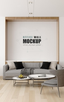 Communication with customers in management room wall mockup