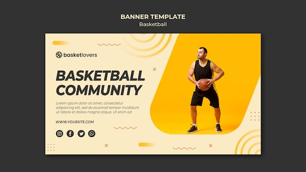 Community of basketball banner web template