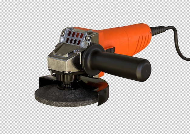 Compact angle grinder isolated. equipment used by woodworkers and locksmiths