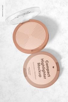 Mockup di packaging per evidenziatore compatto, vista dall'alto