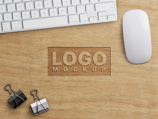 Company business logo mockup work concept carved on wood and office stationary appliances decoration