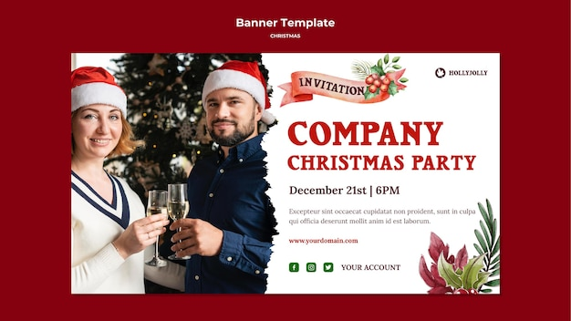 Company christmas party banner template