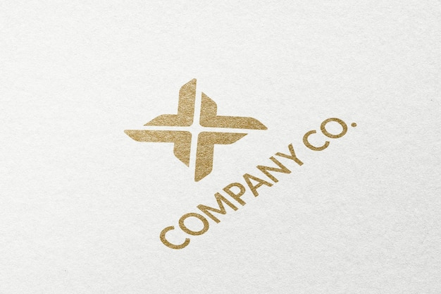 Company co. business logo psd template in embossed paper texture