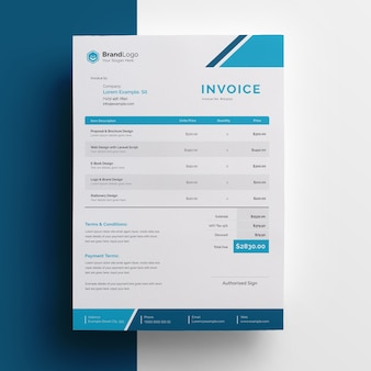 Company invoice template with cyan accent