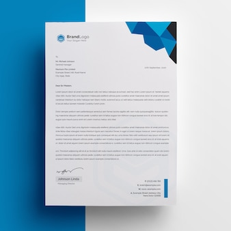 Company letterhead template with blue accent