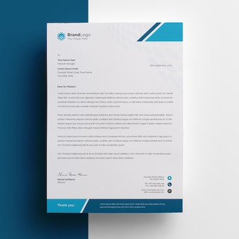 Company letterhead template with cyan accent