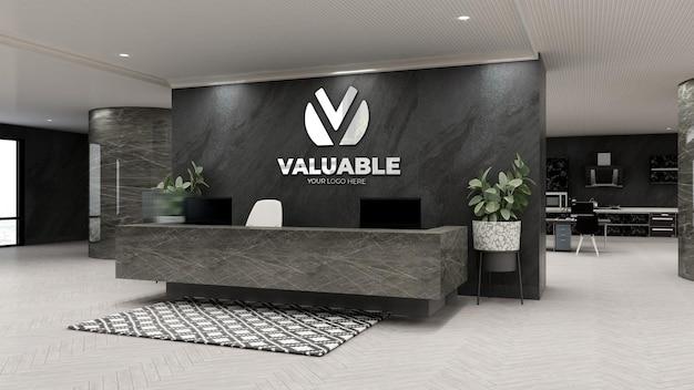 Макет логотипа компании в роскошном офисе на стойке регистрации или на стойке регистрации