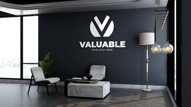 Макет логотипа компании в холле офиса, зал ожидания со столом и стулом, роскошный дизайн интерьера