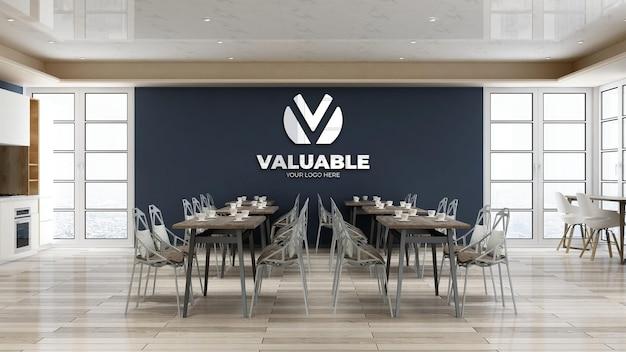 사무실 현대적인 레스토랑이나 식료품 저장실에서 회사 로고 모형